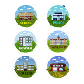 City buildings vector icon set in flat style Design elements and emblems School police department hospital and fire station Urban landscape
