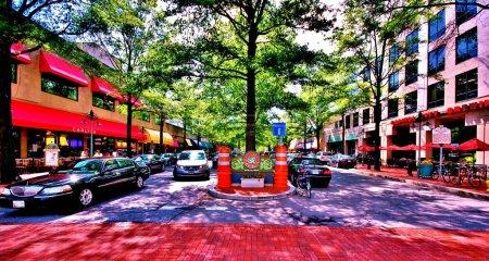 Photo pour WASHNGTON d.c., CTY VEWS, RVER POTOMAC, maisons et rues avec perspective - image libre de droit