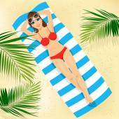 top view of woman with sunglasses in bikini lying on colorful beach towel