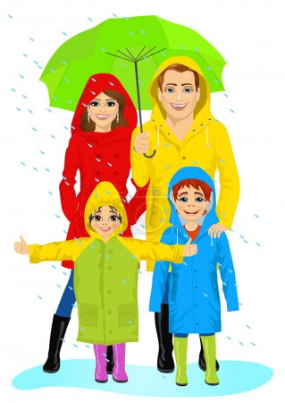 Illustration for Happy family in raincoats standing with umbrella in the rain - Royalty Free Image