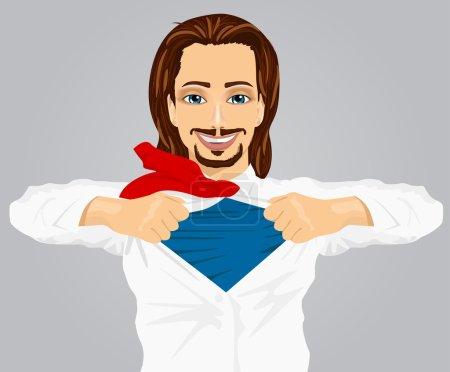 Illustration pour Homme d'affaires avec costume de super-héros sous sa jupe isolé sur fond gris - image libre de droit