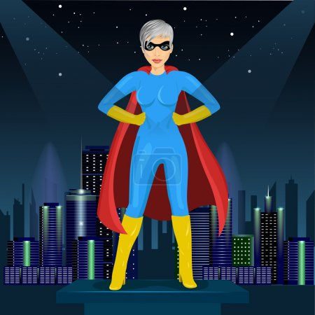 confident woman dressed in superhero costume watching over night city