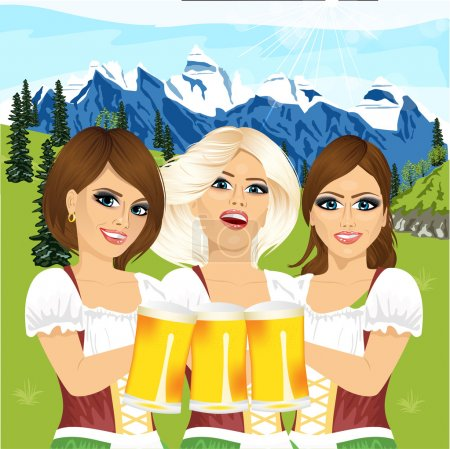 Three oktoberfest girls holding beer tankards against country scene with mountains