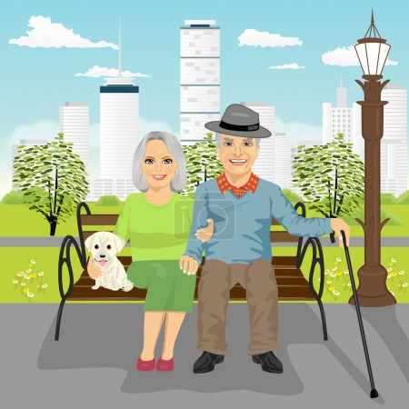 senior couple sitting on wooden bench with dog resting in city park