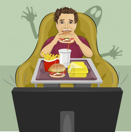 mature man sits in chair eating hamburger and watching a horror movie on TV