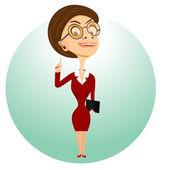 teacher with glasses holding folder