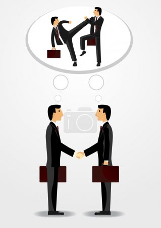 Illustration for Businessmen shaking hands with each other and mentally fighting - Royalty Free Image