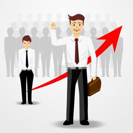 Illustration pour Illustration d'un homme d'affaires levant la main droite, derrière lui il y a beaucoup de perdants la tête baissée - image libre de droit