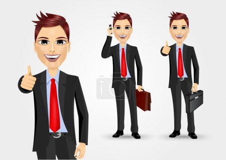 Illustration for Illustration of businessmen with briefcases giving thumbs up and talking on the phone - Royalty Free Image