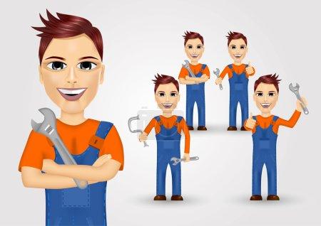 Illustration pour Ensemble de jeunes plombiers amicaux vêtus de vêtements de travail et tenant une clé et un tuyau d'eau - image libre de droit