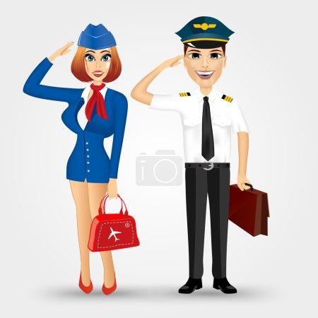 beautiful stewardess and handsome pilot