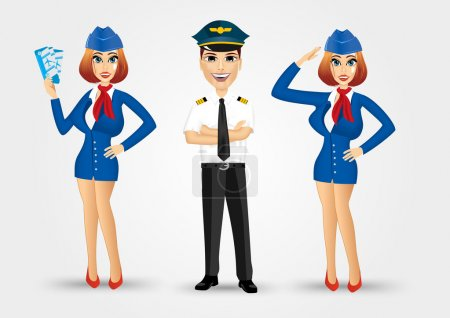 Two beautiful stewardesses and handsome pilot