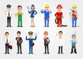 set of 12 professions