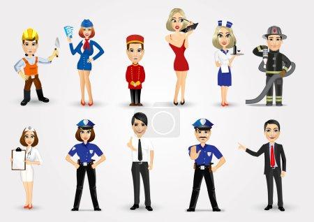 Photo pour Ensemble de 11 professions isolées sur fond blanc, format vectoriel eps10 - image libre de droit
