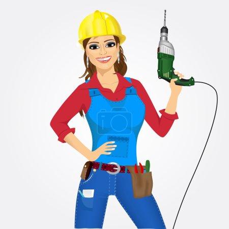 Illustration pour Portrait de travailleuse avec perceuse isolée sur fond blanc - image libre de droit