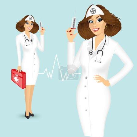 Illustration pour Portrait de jeune jolie infirmière avec seringue et coffre à médicaments isolé sur fond bleu - image libre de droit