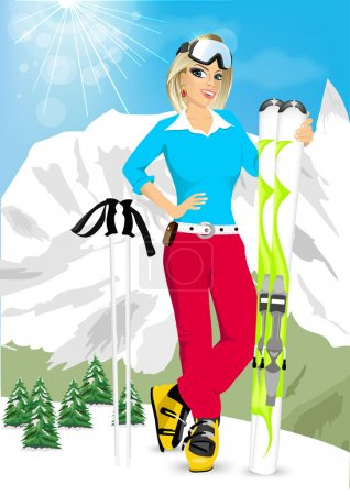 pretty blonde woman standing with mountain skis