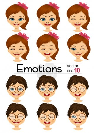 kids showing different facial expressions