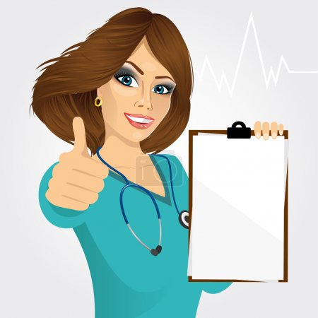 Illustration for Beautiful nurse or female doctor holding a blank medical clipboard and giving thumbs up on white background - Royalty Free Image