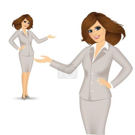 Illustration pour Femme d'affaires montrant quelque chose ou copyspase pour le produit ou le texte de signe - image libre de droit
