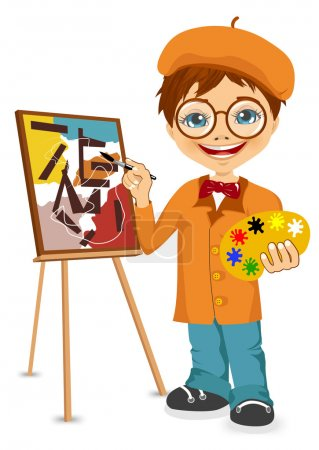 Illustration for Vector illustration of cartoon artist boy standing near the easel holding the palette in his hands - Royalty Free Image