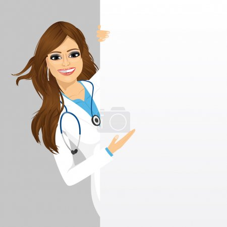 Female doctor with a blank presentation board