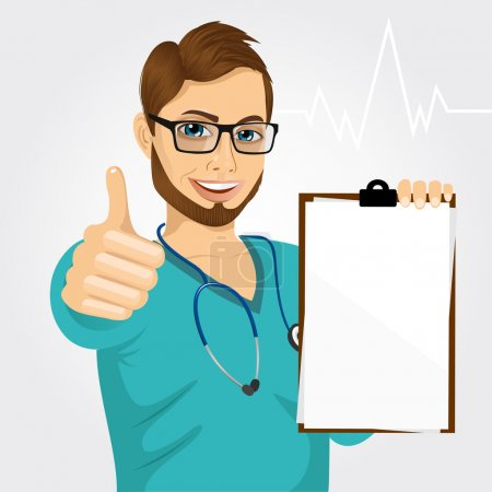 Illustration for Handsome male nurse or doctor with glasses holding a blank medical clipboard and giving thumbs up on white background - Royalty Free Image