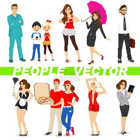 Photo pour Ensemble de personnages divers isolés sur fond blanc. Conception vectorielle - image libre de droit