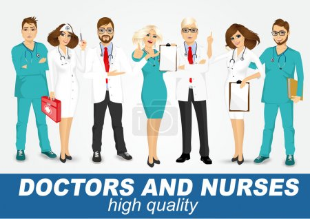 group of doctors and nurses set