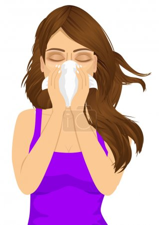 young sick woman ill suffering allergy