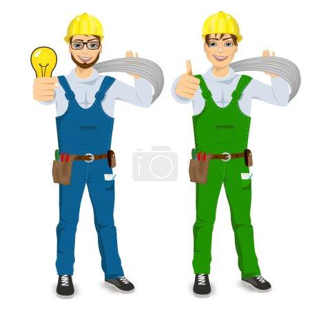 Illustration pour Illustration d'un technicien, d'un électricien ou d'un mécanicien montrant les pouces isolés sur fond blanc - image libre de droit