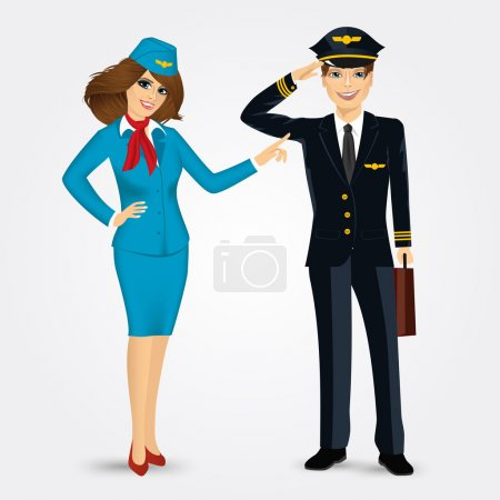 pilot and stewardess in uniform