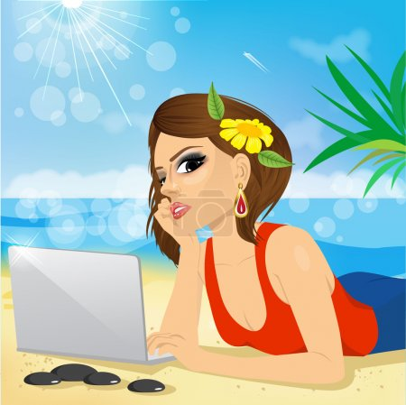 Illustration for Attractive brunette woman lying down on grass using laptop on the beach - Royalty Free Image