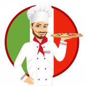 Portrait of italian pizza chef with funny mustache holding pizza in front of italian flag