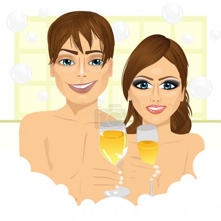 Illustration for Caucasian happy couple making toast with champagne in bathtub enjoying bubble bath and relaxing together - Royalty Free Image