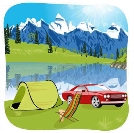 Illustration for Tent camping tourist lake mountain expedition vector illustration - Royalty Free Image