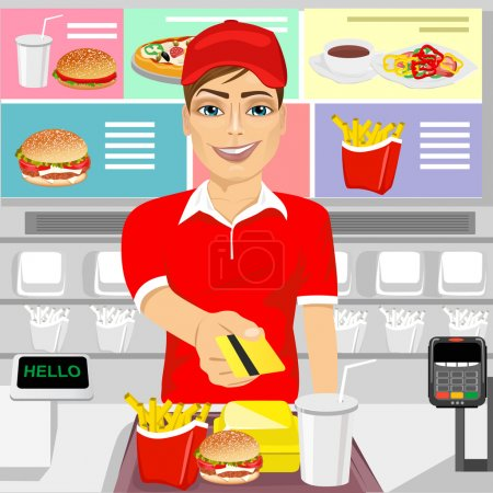 male fast food restaurant employee returning a credit card