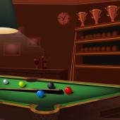 billiard balls composition on green pool table