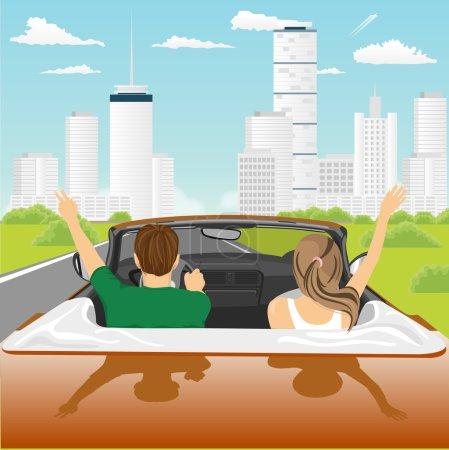 Illustration pour Liberté - heureux couple libre conduisant en voiture cabriolet acclamant joyeux avec les bras levés. Amis entrant dans la ville par une journée ensoleillée . - image libre de droit