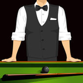 Cropped portrait of man leaning on a pool table