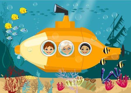 Happy kids in submarine underwater