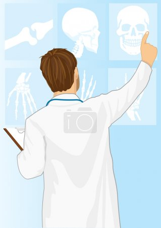 Medical doctor man pointing on tomography