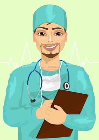 handosme male doctor or nurse with stethoscope taking notes