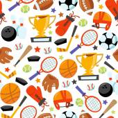 Fun wonky sporting icons seamless pattern background