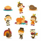 A cartoon vector illustration of a retro autumn festival or thanksgiving symbols and characters like indian boy turkey dinner pilgrim girl harvest crop indian girl turkey bird pilgrim boy and owl