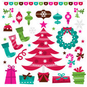 Retro Holly Jolly Christmas Design Elements Set
