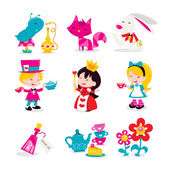 Whimsical Retro Alice In Wonderland Icons