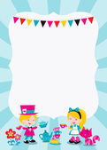 A cartoon vector illustration of a colorful whimsical retro alice in wonderland theme copy space with Alice having a tea party with Mad hatter and Cheshire cat Ideal for kids' party invitations or theme events