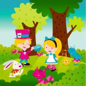 A cartoon vector illustration of a whimsical retro inspired scene from the famous storybook Alice In Wonderland Madhatter serving tea to Alice with other iconic characters like rabbit cheshire cat and smoking worm