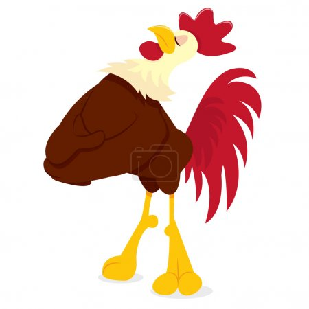 Cartoon Rooster Standing Proud